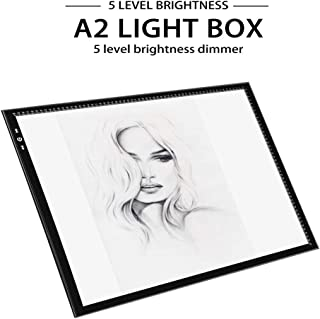 A2 Light Box Light Pad Aluminium Frame Super Thin 5mm/0.2inches Touch Dimmer 20W Super Bright LED 12V 2A Adapter