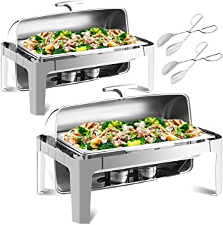Giantex 2 Packs 9 Quart Chafing Dish, 180 Degree Roll Top, Chafer Dishes Buffet Set for Heat Preservation, Stainless Steel Round Chafing Dish Set w/Water Pan, Food Pan, Fuel Holder and Serving Tong