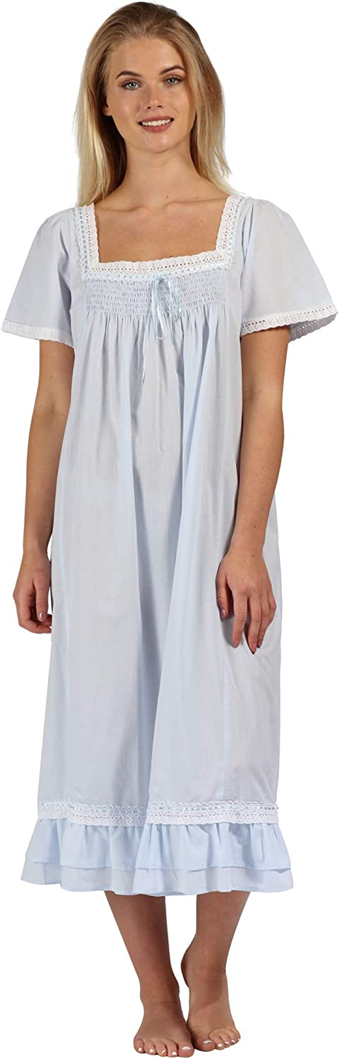 Vintage Nightgowns, Pajamas, Baby Dolls, Robes The 1 for U 100% Cotton Short Sleeve Nightgown - Evelyn $44.99 AT vintagedancer.com