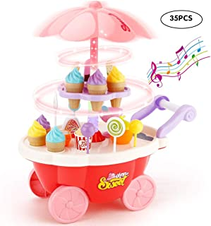 Sotodik 35 PCS Rotating Ice Cream and Candy Mini Cart Pretend Play Food Supermarket Trolley Table Toys with Rotating Light...