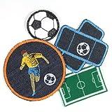 Bügelflicken Fußballer Fußball Bügelbilder Set mit Fußballplatz Pflaster und Fußball Sport Flicken zum aufbügeln Aufbügler für Kinder und Erwachsene