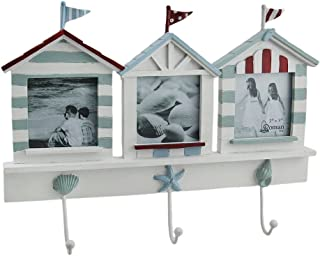 Zeckos Beach House Triple Picture Frame & Decorative Wall Hook Hanging