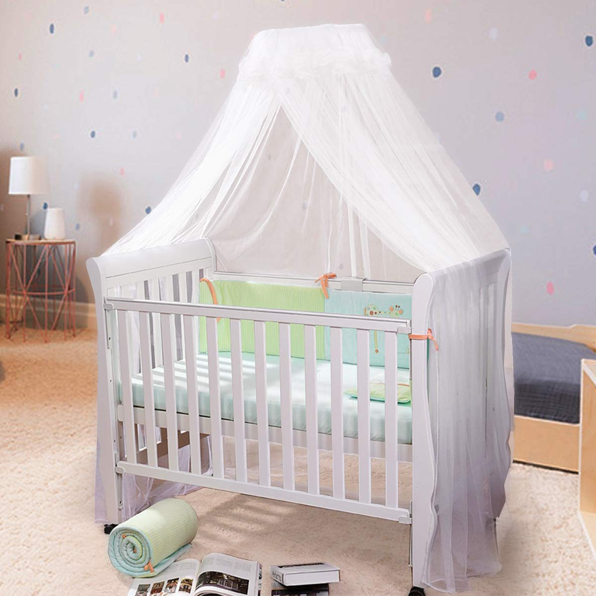 JOYLIFE Baby Net Baby Toddler Bed Crib Dome Canopy Netting (White)