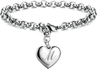 Initial Charm Bracelets Stainless Steel Heart 26 Letters...