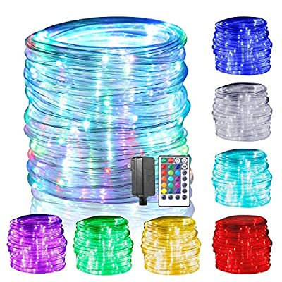 GreenClick LED Rope Lights, 150 LED 17 Colors Changing Rope Lights Connectable with Remote Timer Dimmable Waterproof Twinkle Tube Fairy Lights for Wedding Christmas Party Indoor Outdoor Decorations