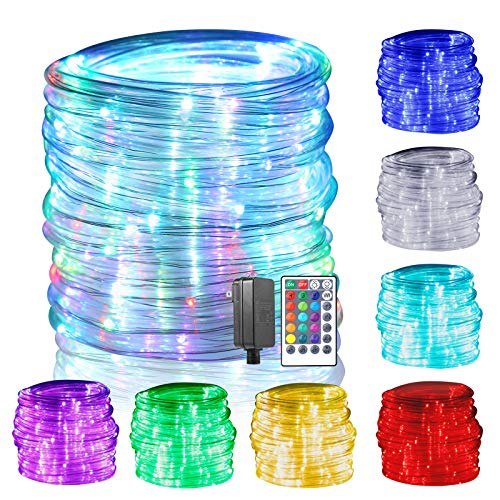 GreenClick LED Rope Lights, 150 LED 17 Colors Changing Rope Lights Connectable with Remote Timer Dimmable Waterproof Twinkle Tube Rope Lights for Wedding Christmas Party Indoor Outdoor Decorations