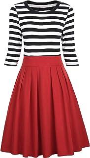 BI.TENCON Women Vintage Style Black and Red Striped Casual Swing Dress 3/4 Sleeve Retro Office Dress Plus Size 2XL