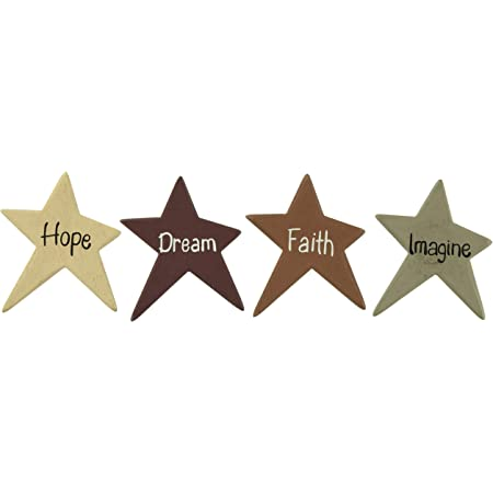 Smile Believe Family New Simplify Set of 4 Primitive Star Magnets Distress
