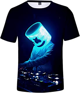 f8d031d7a INTERESTPRINT Cool Marshmello Face Unisex T-Shirt Color Pullover Short  Sleeve Shirt Gift for Boys