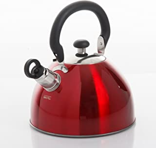 Mr. Coffee Morbern 1.8 Quart Stainless Steel Tea Kettle, Red