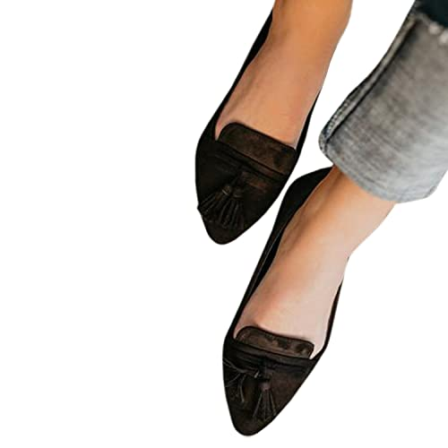 a5e7833bea9 LAICIGO Womens Loafers and Slip Ons Tassel Flat Ankle Booties Low Heel Faux  Suede Pointed Toe