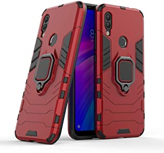 FanTing Case for Huawei Y6s (2019), Rugged and shockproof,with mobile phone holder, Cover for Huawei Y6s (2019)-Red