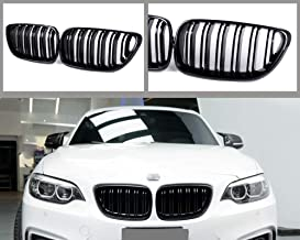 GY 2-Slat Double Line Glossy Black ABS Kidney Bumper Grille Grill for BMW 2 Series F22 F23 F87(M2) 2014-2018