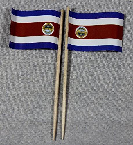 Buddel-Bini Party-Picker Flagge Costa Rica Papierfähnchen in Profiqualität 50 Stück Beutel Offsetdruck Riesenauswahl aus eigener Herstellung