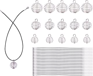 PandaHall Elite 24 Pcs3 Sizes Iron Spiral Bead Cages Pendants with 24 Strands 17 Inches Wax Cotton Necklace Cord for DIY Jewelry Making