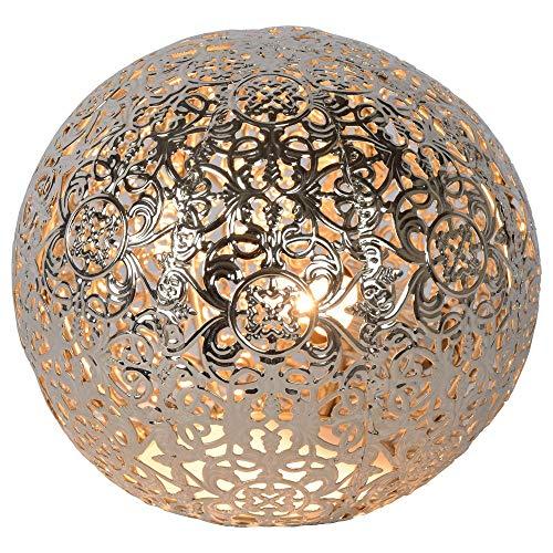 Shabby Chic Landhaus vintage Tischlampe, Tisch-leuchte & Nachttischlampe G9 Wohnzimmer Schlafzimmer Silber Metall