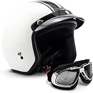 "Armor /· AV-47 /""Black White/"" 57-58cm black /· Casque Moto Jet /· Helmet Chopper Scooter Demi Jet Cruiser Retro /· DOT certifi/é /· Click-n-Secure/™ Clip /· Sac fourre-tout /· M"