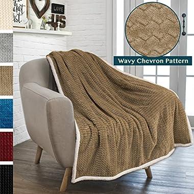 PAVILIA Premium Chevron Fleece Sherpa Throw Blanket for Sofa, Couch | Soft Fuzzy Zig Zag Texture, Fluffy Lightweight Microfiber Blanket, Cozy Reversible Plush Throw (50 x 60 Inches, Taupe)