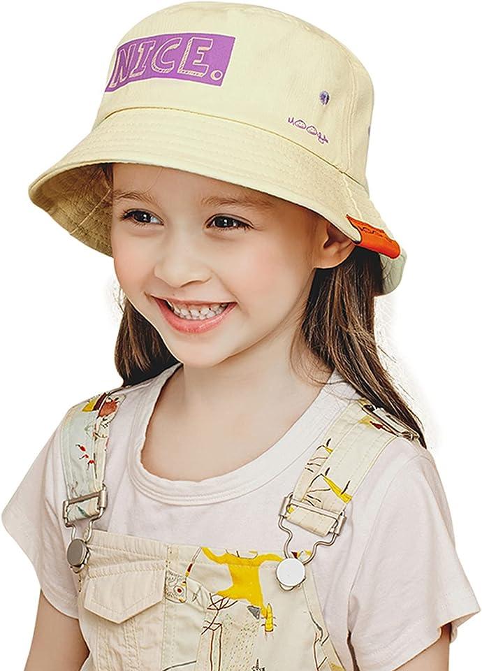 ZHANGYAN Kinder-Eimer-Hut, Gedruckter breiterer Sonnenhut, Sommer-Fischer-Hut im Freien, 3-6 Jahre alt (Color : Beige, Size : 48-52cm/18.8-20.4in)