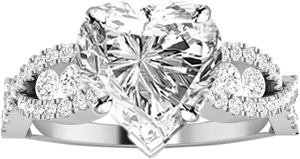 0.5 Ct G Color SI2 Clarity Center Stone 1 Carat 14K White Gold Designer Twisting Eternity Channel Set Four Prong Heart Shape GIA Certified Diamond Engagement Ring