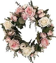 VZEXA Home Décor Artificial Flowe Door Wall Ornament Rose Wreath Wedding Decoration Small Pink Wreath (Multicolor)