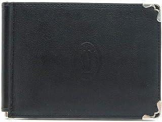 [カルティエ] Cartier マスト ドゥ カルティエ マネークリップ付き 財布 札入れ メンズ レザー ブラック ボルドー L3001371 [中古]