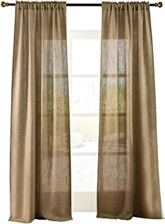 Valea Home Soft Burlap Natural Tan Rod Pocket Window Curtain Panels for Living Room Patio Door, 37