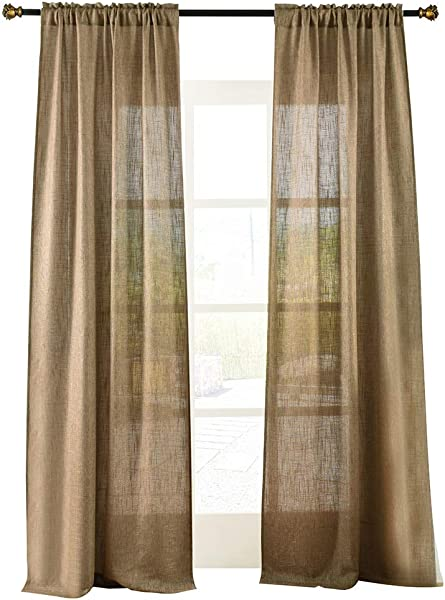 Valea Home Soft Burlap Natural Tan Rod Pocket Window Curtain Panels For Living Room Patio Door 37 X 84 1 Panel