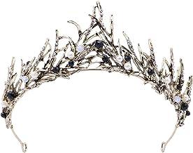 Corona de pelo de princesa vintage hecha a mano con hojas doradas y perlas, accesorio para el pelo de la marca FRCOLOR