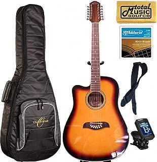 Oscar Schmidt LEFT HAND 12-String A/E Guitar, Active EQ, Sunburst, Gigbag Bundle OD312CETSLH
