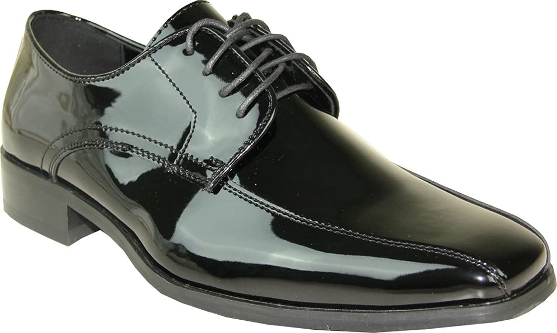 VANGELO Men Tuxedo shoes TUX-5 Fashion Square Toe for Wedding Formal Event Black Patent 8W