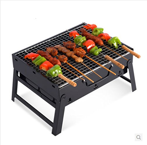 ZZ-aini Acier inoxydable charcoal barbecues barbecue grill portable sans fumée camping pique-nique party -A 35x27x20cm