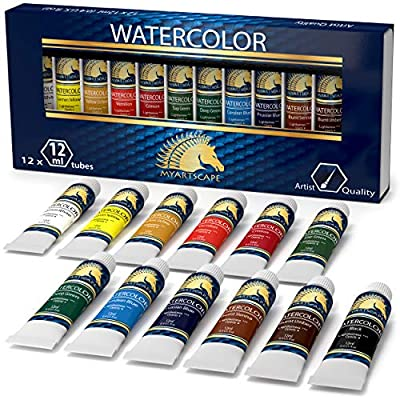 Watercolor Paint Set - Artist Quality Paints - 12 x 12ml Vibrant Colors - Rich Pigments - Professional Supplies by MyArtscape™