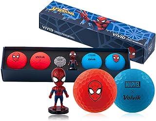New Volvik X Marvel Heroes Vivid LOMG 4 ゴルフボール + ボールマーカー セット/スパイダーマン - Limited Edition- [並行輸入品]