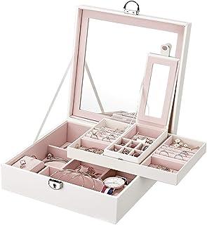ジュエリー収納ボックス ジュエリーボックス 収納ボックス 収納ボックス ジュエリーボックス 化粧品収納ボックス 化粧品収納ボックス ジュエリー収納ボックス E-84 (White)