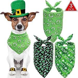 3 Pieces St. Patrick's Day Cat Dog Bandanas Green Shamrock Pet Bandana Pet Triangle Bibs Scarf for Small Medium Large Cat Dog Pet