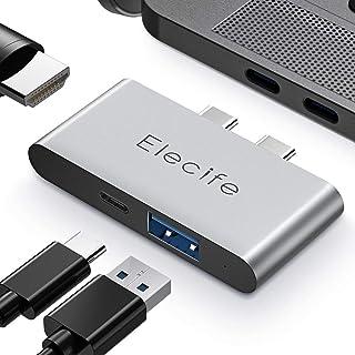 Elecife USB Cハブ 3-IN-2 Type Cハブ 4K HDMI高画質対応 PD充電サンダーボルト3 USB3.0ポート 直挿しタイプ 軽量 コンパクト MacbookPro2016/2017/2018/2019/2020、...
