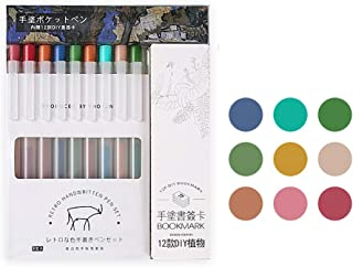 Doraking 9PCS 0.5mm Cute Colorful Retractable Refillable Bullet Tip Gel Ink Pens, Stationery Gel Pen for Writing (Retro)