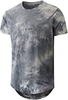 KLIEGOU Mens Hip Hop Tie-Dyed Hipster Colorful T Shirt