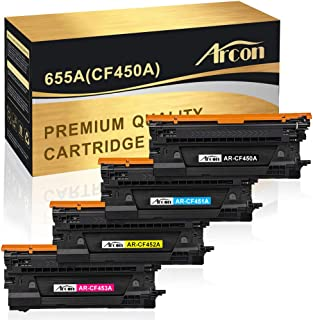 Arcon Compatible Toner Cartridge Replacement for HP 655A 450A CF450A CF451A CF452A CF453A HP Color Laserjet Enterprise M681f M681dh M652dn M653dn M653x M652n M681f M681z M682z(4Packs, KCMY)