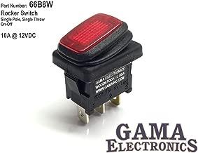 GAMA Electronics Waterproof Mini Off-On Illuminated 12 VDC Rocker Switch