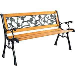 Giantex 50'' Patio Park Garden Bench, Outdoor Furniture Rose Cast Iron Hardwood Frame Porch Loveseat for 2 Person Outdoor