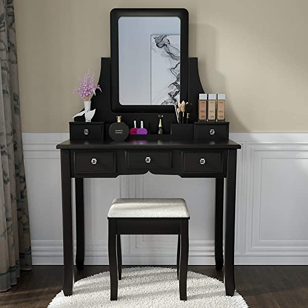 Vanity Set With Mirror Dressing Table Vanity Makeup Table Cushioned Stool 5 Drawers