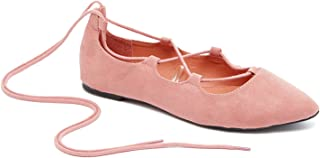 Ghille Lace up Pointy Toe Leg Tie Ballet Flat for Women-Comfortable- Ballet