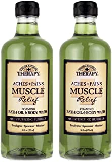 Village Naturals Aches and Pains Muscle Relief Foaming Bath Oil and Body Wash 16 oz. 2 pack, green, Green, 16 oz