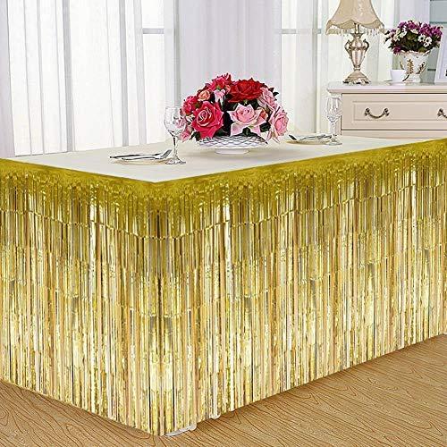 Wifehelper Fringe Table Rock Freded Table Rock Geeignet für Round Table Rechteckige Tisch Gold Silver Purple(Golden)