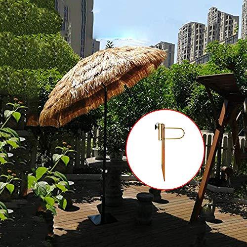 Parasol Sombrilla De Jardín Tiki Paja Redonda De 1.8 M, Patio De Verano Al Aire Libre Protección Solar, Color Natural Inclinado 30 °