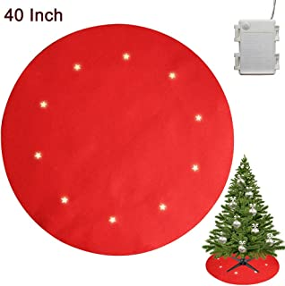 Juegoal Reversible Christmas Tree Stand Mat with 10 LED Star Lights Battery Operated, 8 Lighting Modes Christmas Tree Floor Protector, 40 Inches Light Up Xmas Tree Pad Holiday Party Decorations, Red