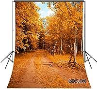 ZPC 5X7FT秋の森の写真撮影の背景黄色の葉の自然の風景木の枝の未舗装の道路の背景結婚式の女の子の大人の芸術の肖像画の写真誕生日パーティー