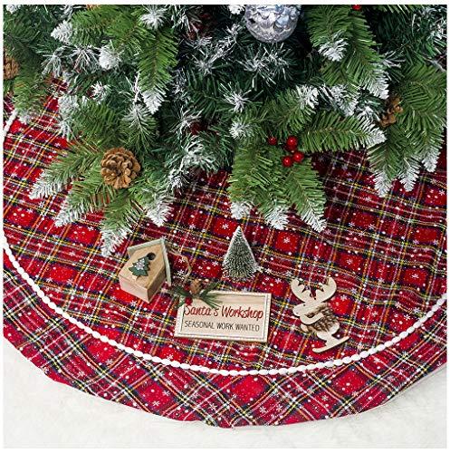 Rechoo Copri Base per Albero di Natale, in Peluche, con Bordo Rotondo, 78,7 cm, Colore: Bianco Plaid (Red)